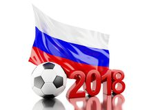 3d Russia flag and soccer ball. 3d illustration. Russia flag and soccer ball. Russia 2018 World Cup. Isolated white background Royalty Free Stock Photo