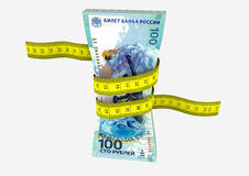 3D Russian Currency with Measure tape Royalty Free Stock Photography