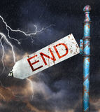 3d Rusted grunge road sign, over dramatic storm sky Stock Photo