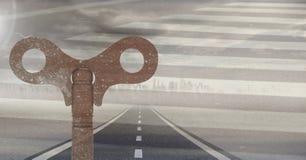 3D Rustic Key over road. Digital composite of 3D Rustic Key over road vector illustration