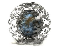 3D Rusty Blue Metal Sphere Concept. Isolated rusty blue metal sphere and cubes on white backdrop with surface shading. 3D concept image with internet Stock Photos