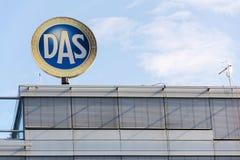 d A S 法律费用由因此小组的保险商标从德国人慕尼黑Re在捷克的大厦的保险公司商标他 免版税图库摄影