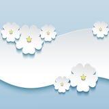 花卉背景,与3d的贺卡开花s 免版税库存照片