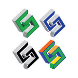 3D S geometrica Logo Set Fotografia Stock Libera da Diritti