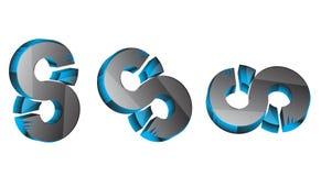 3d 3d 8 3D S Número 8 cor azul & cinzenta 8 de 3D preto, azul & cinzento sss o melhor 3D ilustração stock