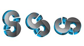3d 3d 8 3D S Numero 8 colore blu & grigio 8 di 3D nero, blu & grigio sss migliore 3D illustrazione di stock