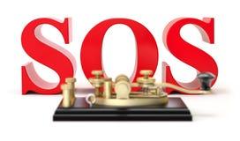 3d S.O.S.tekst met het apparaat van de morsecodetelegrafie Stock Foto's