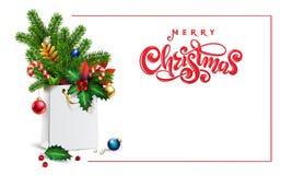 3d saco de compras, abeto vermelho do ramalhete, ramos do abeto, brinquedos do xmas, bolas coloridas, ilustração royalty free