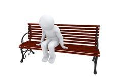 3d sad human sits on a bench Stock Photos