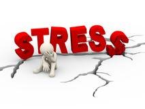 3d sad upset man cracked word stress Stock Image