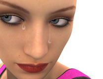 (3D) sadness woman. Royalty Free Stock Image
