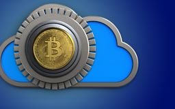 3d safe bitcoin safe. 3d illustration of cloud with bitcoin safe over blue background Royalty Free Stock Photos
