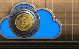 3d safe bitcoin safe. 3d illustration of cloud with bitcoin safe over golden wall background Royalty Free Stock Photos