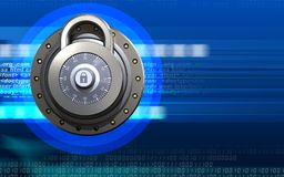 3d safe blank. 3d illustration of lock  over cyber background Royalty Free Stock Image
