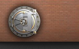 3d safe blank. 3d illustration of bank door  over red bricks background Stock Photography