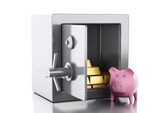 3d safe box. security concept. 3d illustration. safe box with gold and pig money box. Security concept.  white background Royalty Free Stock Images