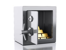 3d safe box. security concept. 3d illustration. safe box and gold. Security concept.  white background Stock Photo