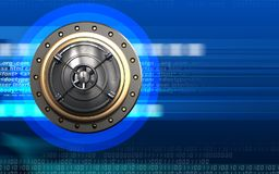 3d safe closed bank door. 3d illustration of closed bank door  over cyber background Stock Photo