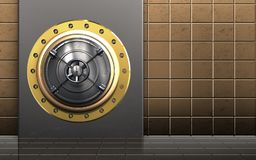 3d safe closed bank door. 3d illustration of metal box with closed bank door over golden wall background Royalty Free Stock Photo