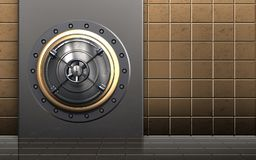 3d safe closed bank door. 3d illustration of metal box with closed bank door over golden wall background Stock Photos