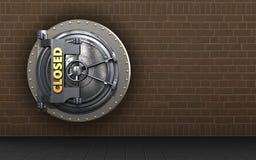3d safe closed vault door. 3d illustration of closed vault door  over bricks background Stock Image