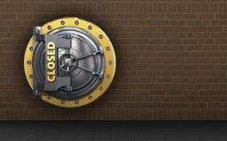 3d safe closed vault door. 3d illustration of closed vault door  over bricks background Royalty Free Stock Photos