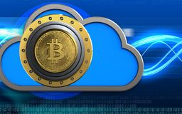 3d safe cloud. 3d illustration of cloud with bitcoin safe over digital waves background Royalty Free Stock Photography