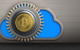 3d safe cloud. 3d illustration of cloud with bitcoin safe over iron wall background Royalty Free Stock Photos