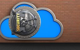 3d safe cloud. 3d illustration of cloud with security door over red bricks background Royalty Free Stock Photography