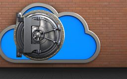3d safe cloud. 3d illustration of cloud with steel door over red bricks background Royalty Free Stock Images