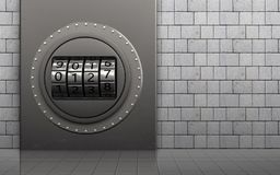 3d safe code dial. 3d illustration of metal box with code dial over white stones background Royalty Free Stock Image