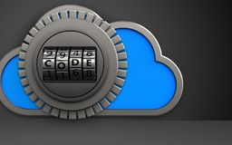 3d safe code dial. 3d illustration of cloud with code dial over black background Stock Photo