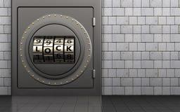 3d safe code lock door. 3d illustration of metal safe with code lock door over white stones background Stock Photo