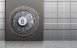 3d safe combination lock. 3d illustration of metal box with combination lock over white wall background Stock Photos