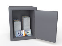 3d safe with dollar notes Stock Photos