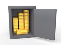 3d safe with gold bars Royalty Free Stock Image