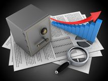 3d safe. 3d illustration of documents and safe over black background with arrow graph Royalty Free Stock Photography
