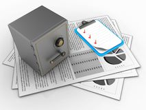 3d safe. 3d illustration of documents and safe over white background with clipboard Royalty Free Stock Image