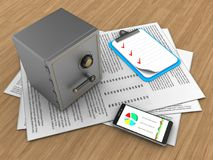 3d safe. 3d illustration of papers and safe over wood background with clipboard Stock Photo