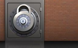 3d safe lock. 3d illustration of metal safe with lock over red bricks background Stock Images