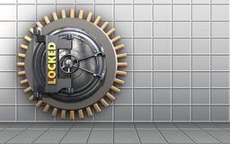 3d safe locked vault door. 3d illustration of locked vault door  over white wall background Stock Photos