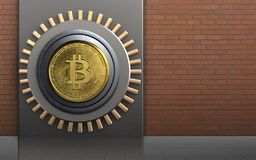 3d safe metal box. 3d illustration of metal box with bitcoin safe over red bricks background Stock Image
