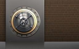 3d safe metal box. 3d illustration of metal box with closed bank door over bricks background Stock Photos