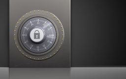 3d safe metal box. 3d illustration of metal box with combination lock over black background Royalty Free Stock Images