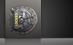 3d safe metal box. 3d illustration of metal box with locked vault door over black background Stock Photography