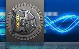 3d safe metal box. 3d illustration of metal box with locked vault door over digital waves background Royalty Free Stock Image