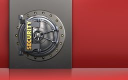 3d safe metal box. 3d illustration of metal box with security door over red background Royalty Free Stock Photo