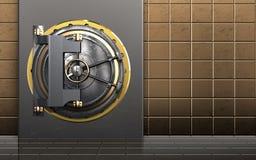 3d safe metal box. 3d illustration of metal box with vault door over golden wall background Stock Images