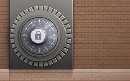 3d safe metal box. 3d illustration of metal box with combination lock over bricks wall background Stock Images