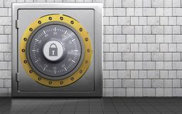 3d safe metal safe. 3d illustration of metal safe with combination lock over white stones background Stock Image